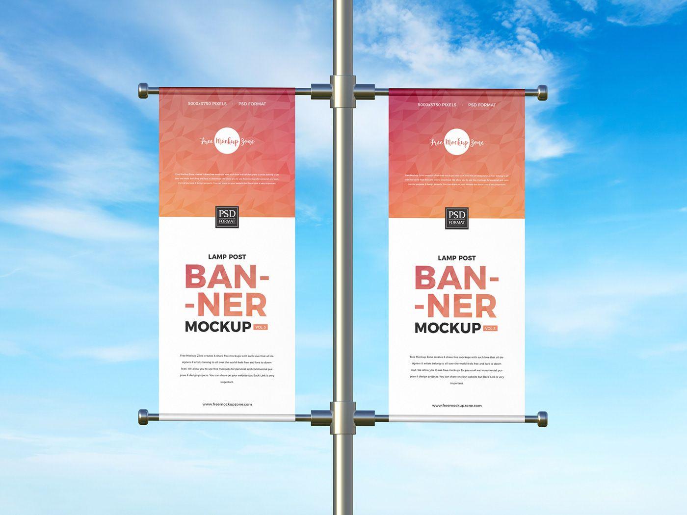 Free Lamp Post Banner Mockup Free Mockup Free Advertising Mockup Free Psd