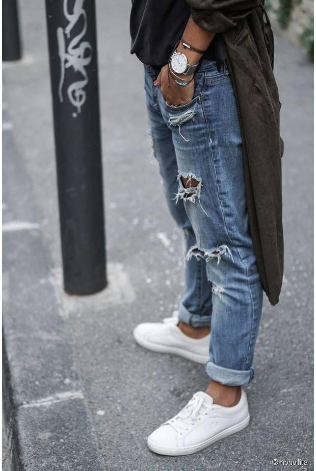 daf4131707 Lacoste White Sneakers Jean Boyfriend Noholita | ripped jeans ...