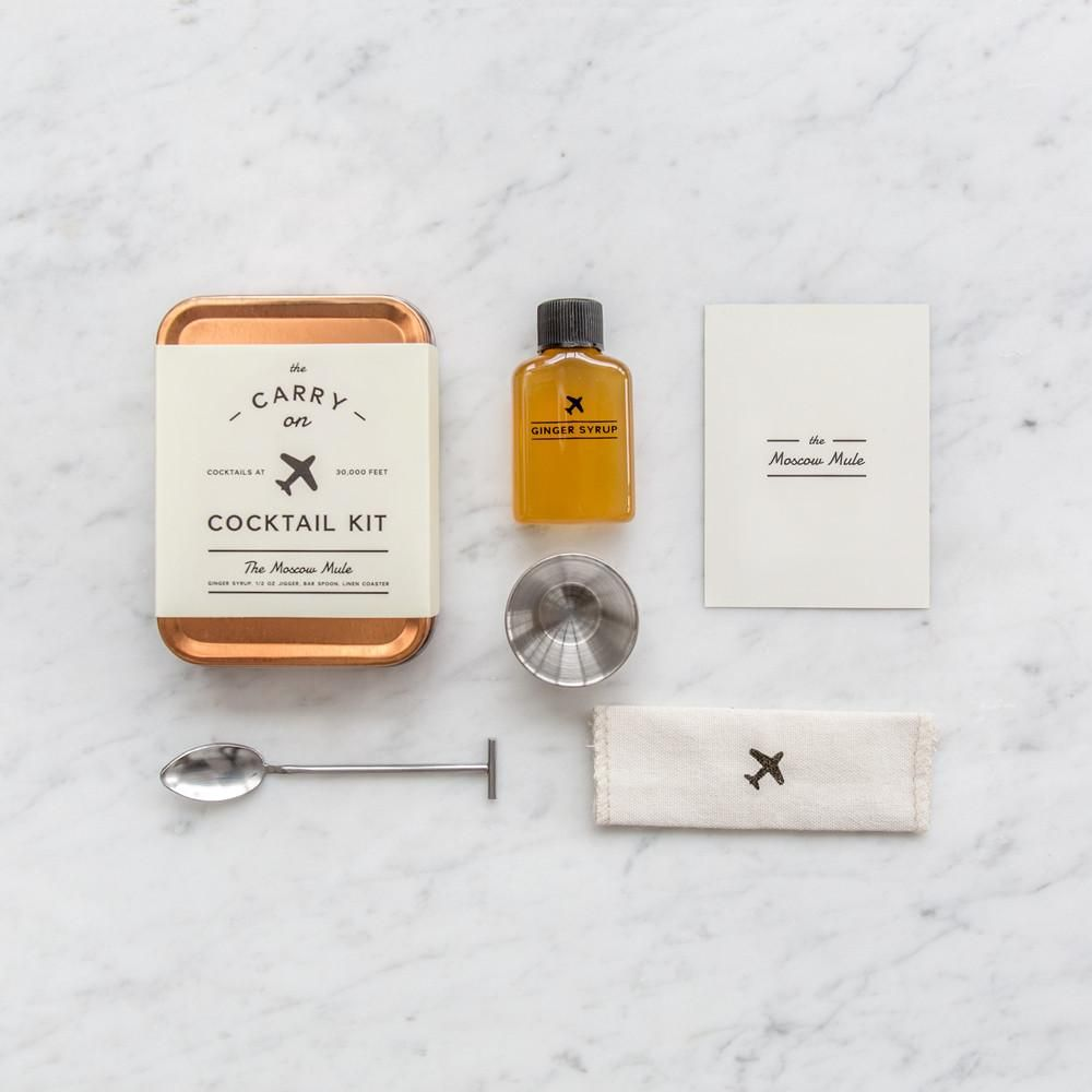 The Carry On Cocktail Kit provides the tools to craft two DIY Moscow Mule cocktails during airplane travel. Available in Old Fashioned, Hot Toddy, and G&T.