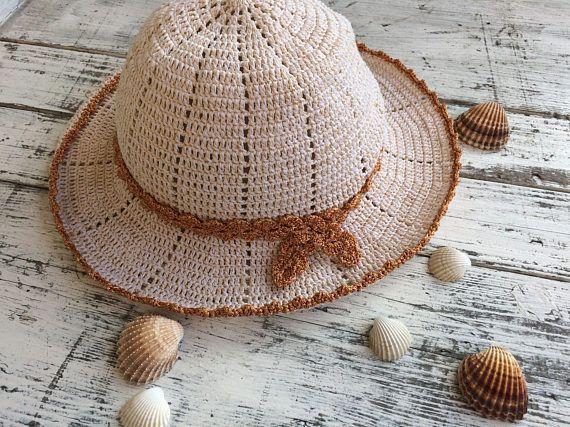 Summer hat...Cotton sun hat...Cream summer hat  d48ffc003318