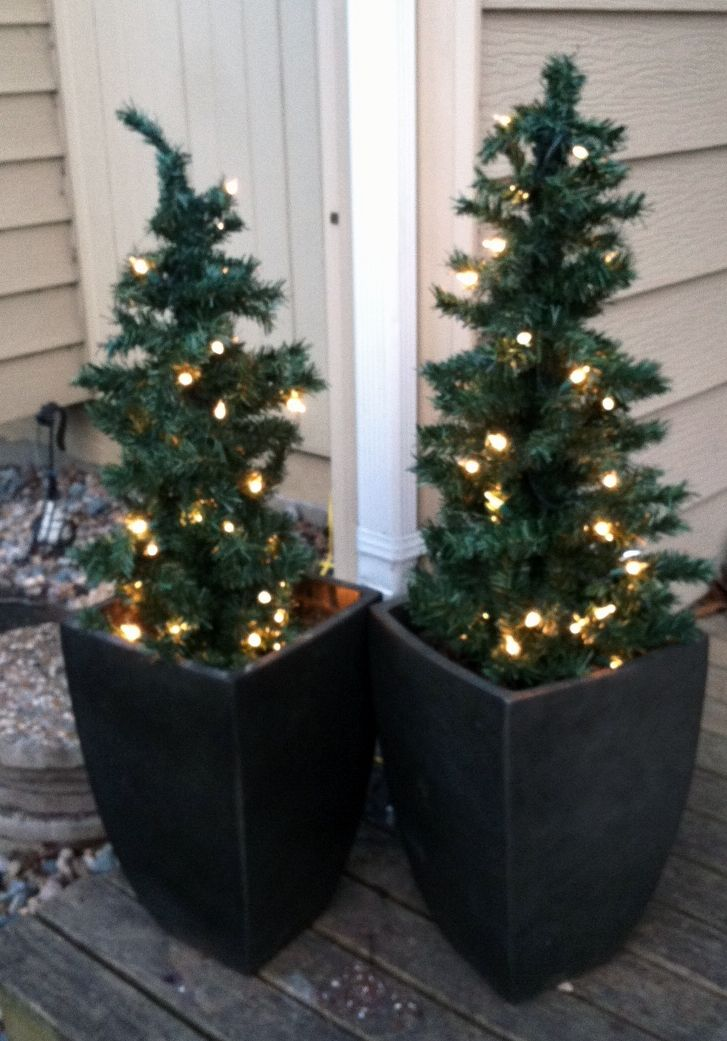 Used My Empty Flower Gardens To Be The Base For Front Porch Christmas Trees Outdoor Christmas Tree Porch Christmas Tree Outdoor Christmas
