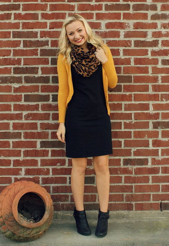 8b8124650b Liven up a little black dress with a mustard cardigan   a fun leopard print  scarf. Just add booties for cute look for fall.