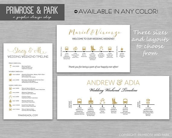 Wedding Timeline Cards Printed Weekend Itinerary Schedule Of Events