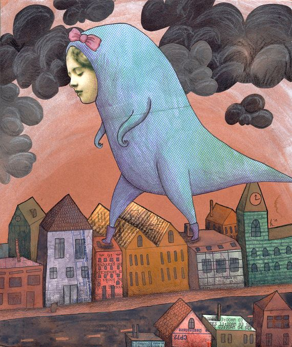 SALE Hello Little Rooftops  A4 Print  dinosaur suit by Hannakin, $5.00