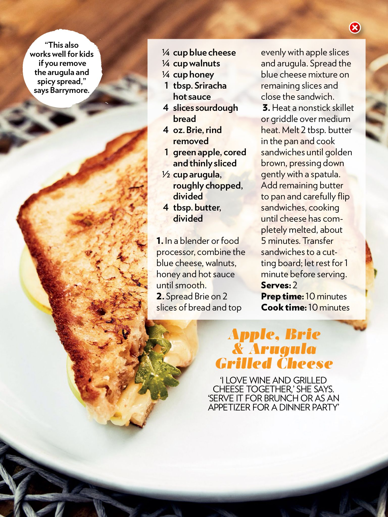 Drew Barrymore\'s apple, Brie and arugula grilled cheese sandwich ...