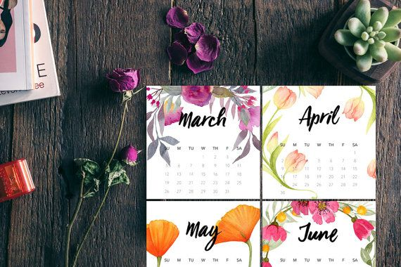 Printable Floral 2017 Calendar in 4.75-inch Square CD size. Just print on cardstock, cut out, and stack in an open CD case for a lovely desktop calendar.