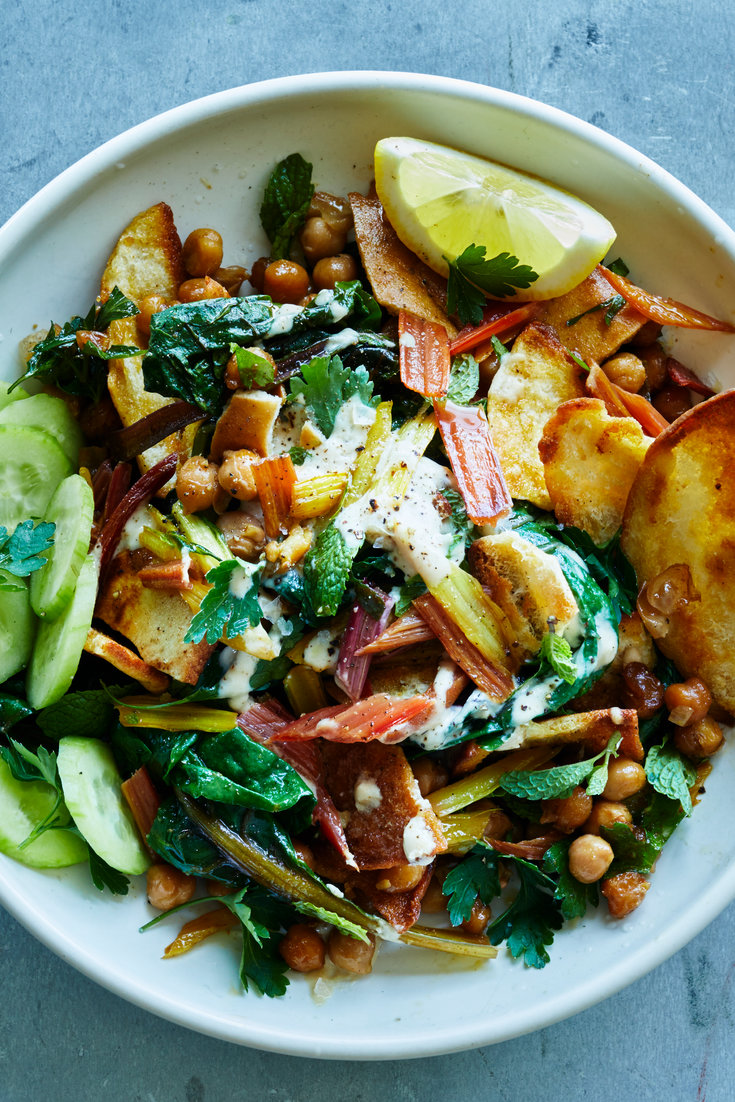 Spiced Chickpea Salad With Tahini And Pita Chips Recipe Spiced Chickpeas Nyt Cooking Recipes