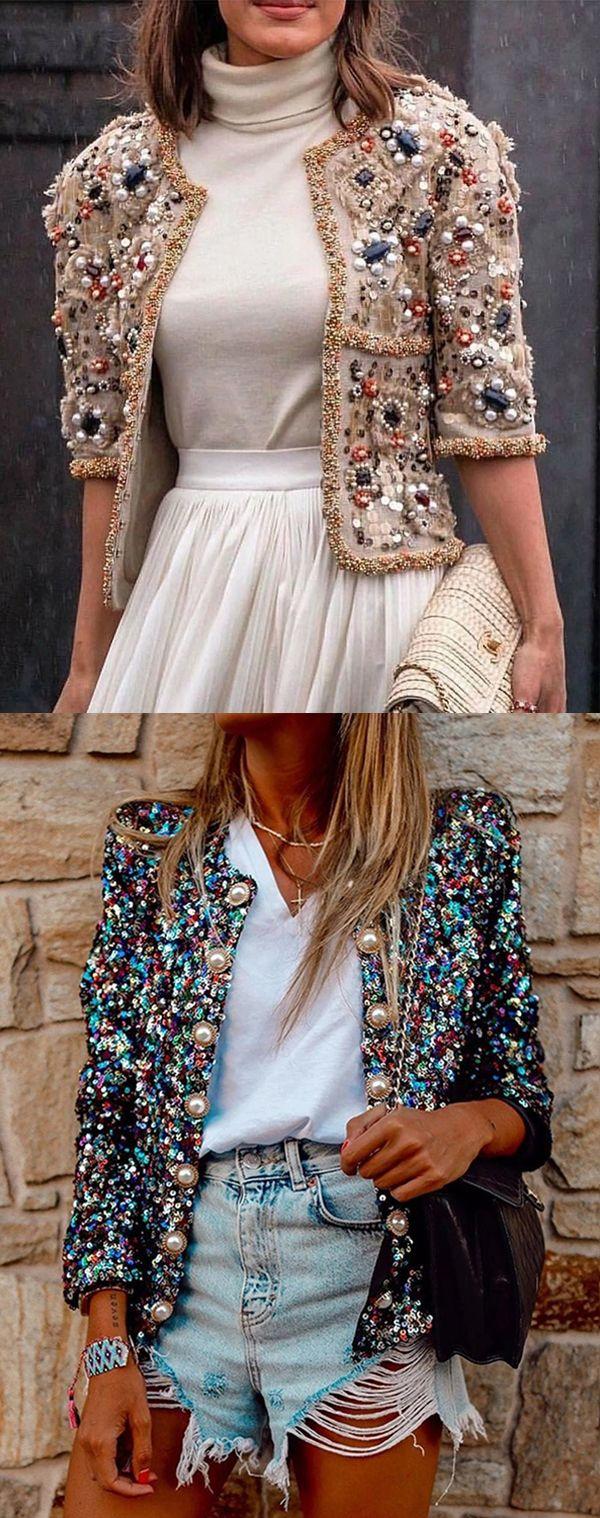 Women Pearl Printed Pattern Short Jackets