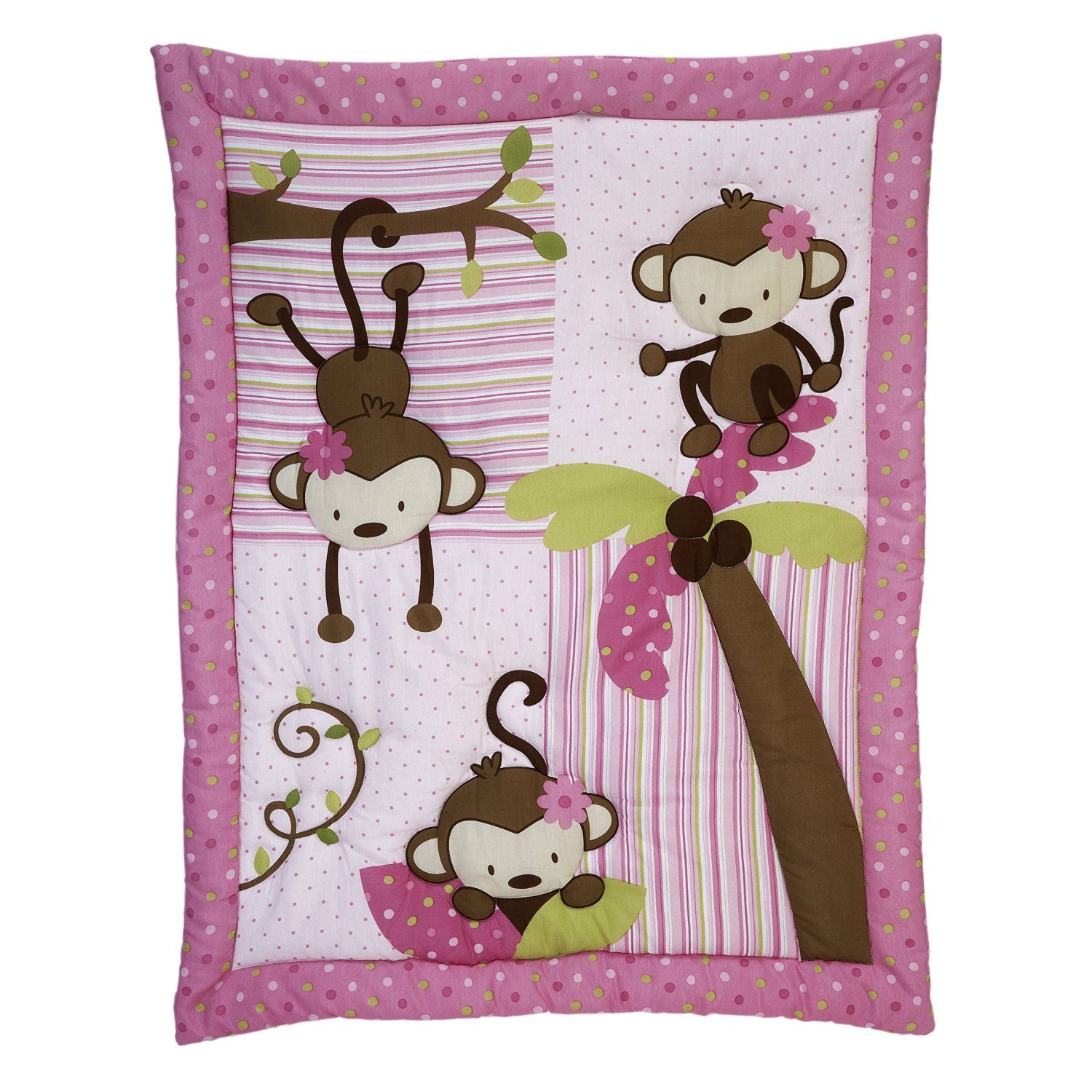 Pink Monkey Jungle Baby Room and Crib Sets