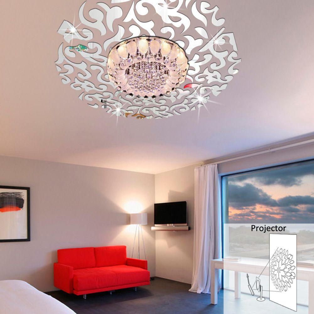goedkope een verwijderbare spiegel muurstickers creatieve stereo slaapkamer plafondlamp stickers plafond koop kwaliteit muurstickers