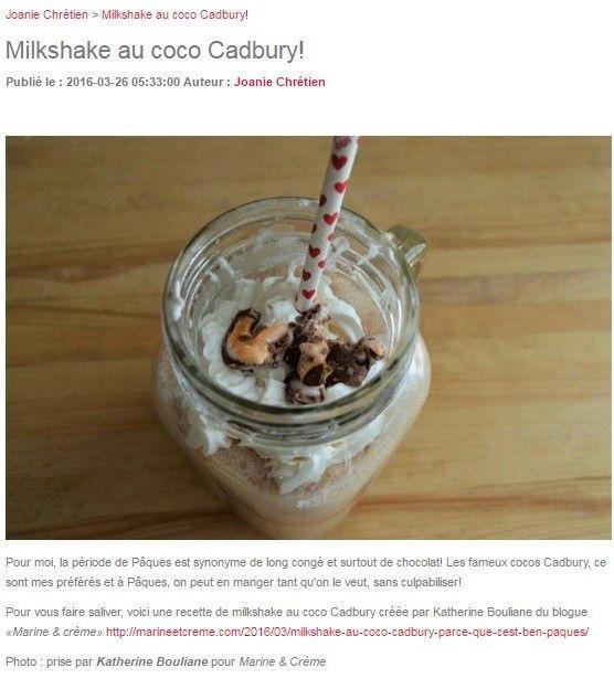Le milkshake aux cocos Cadbury est populaire Mentions coquettes