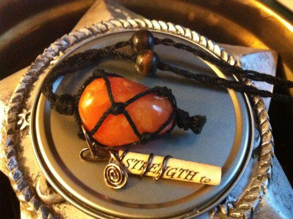 Carnelian Strength Charm Necklace. By Carla VanKoughnett ♥ ~ ArtCraftandNature