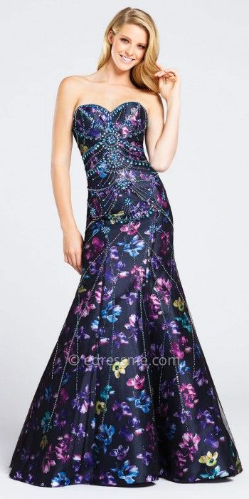 a106ac51d0c Stand out at Prom in the Strapless Embellished Floral Mermaid Prom Dress by Ellie  Wilde for Mon Cheri. This unique style has a sweetheart neckline
