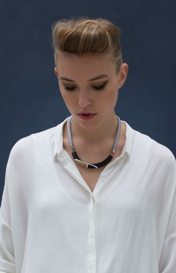 Women's Resin and Wood Splice Bar Short Necklace Model View by Elk The Label