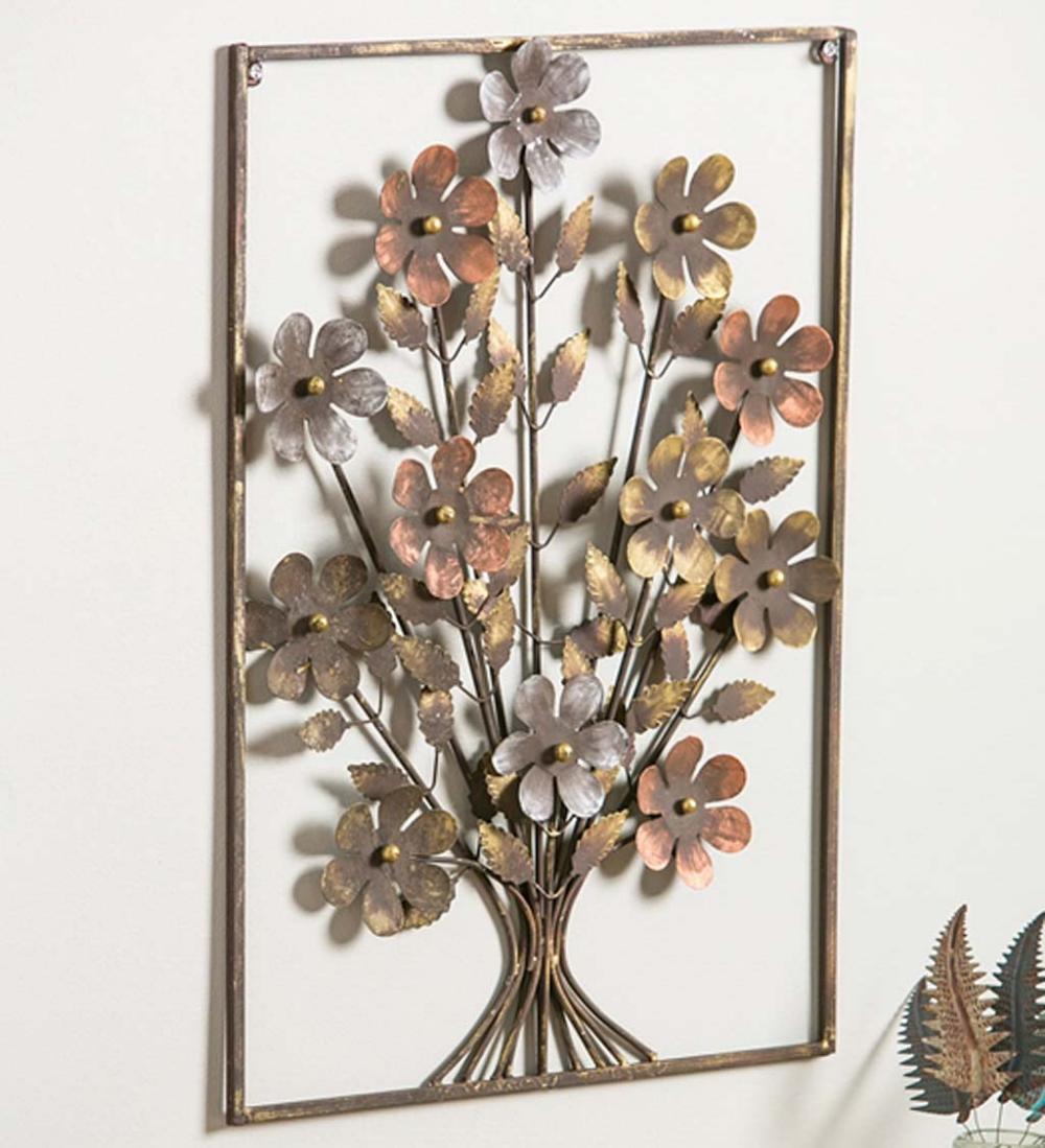 Metal Framed 3d Flower Bouquet Wall Art Metal Wall Flowers Flower Wall Decor Metal Flowers