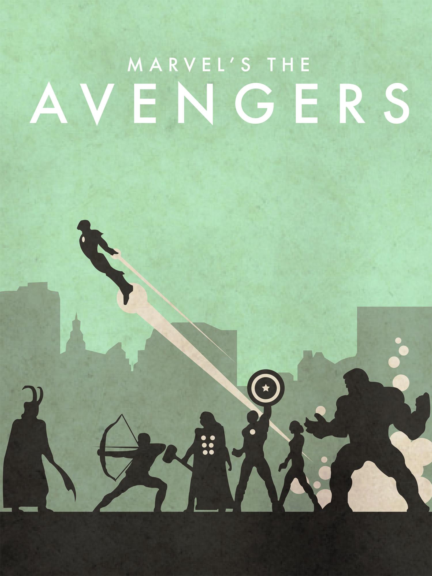 AVENGERS Portrait Marvel Minimalist Print Illustration Poster Wall Art