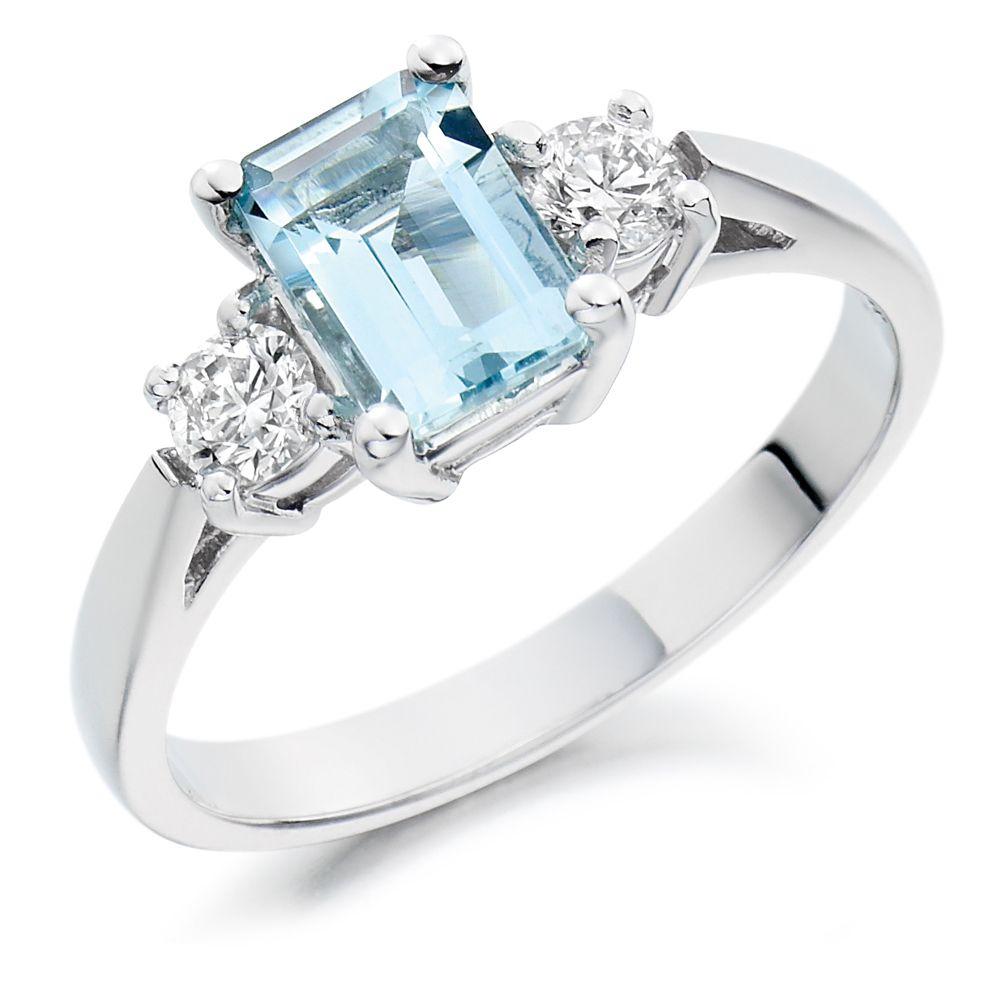 Aquamarine Diamond Engagement Rings