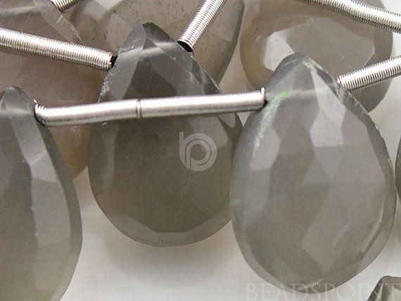 Natural '' NO TREATMENT'' Grey Moonstone Medium Faceted Pear Drops, 9x12mm, 1 Strand (GMNS9x12Pear)