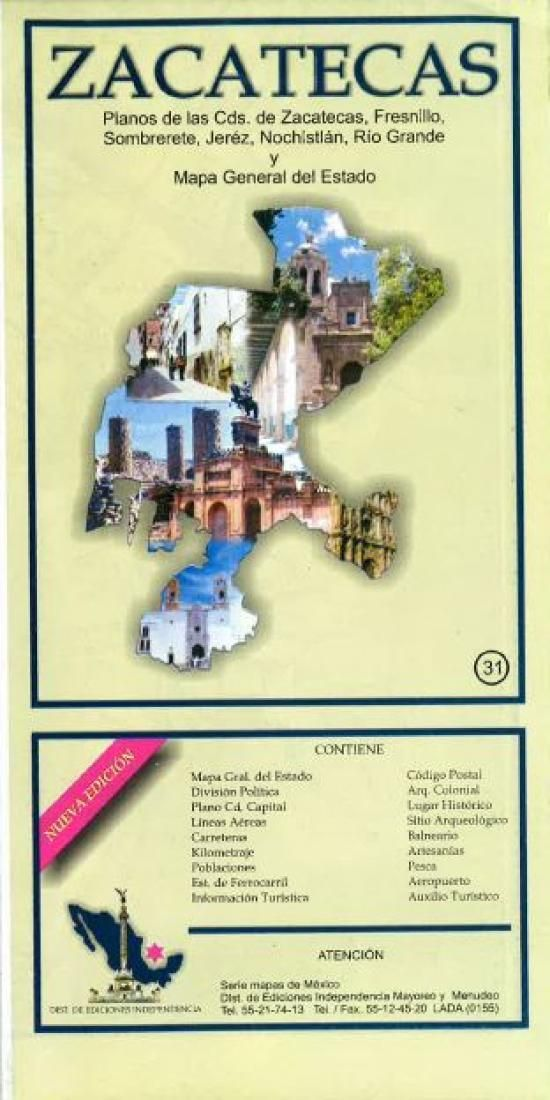 Zacatecas, Mexico, State and Major Cities Map by Ediciones ... on