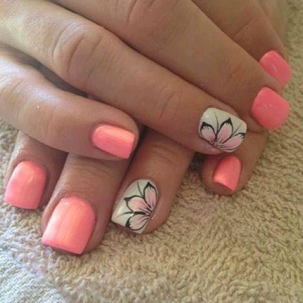 Uñas coral-neon tendencia verano 2016   Nail nail
