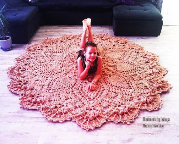 SALE Extra Large round Crochet rug Ready to ship!! Brown carpet ...