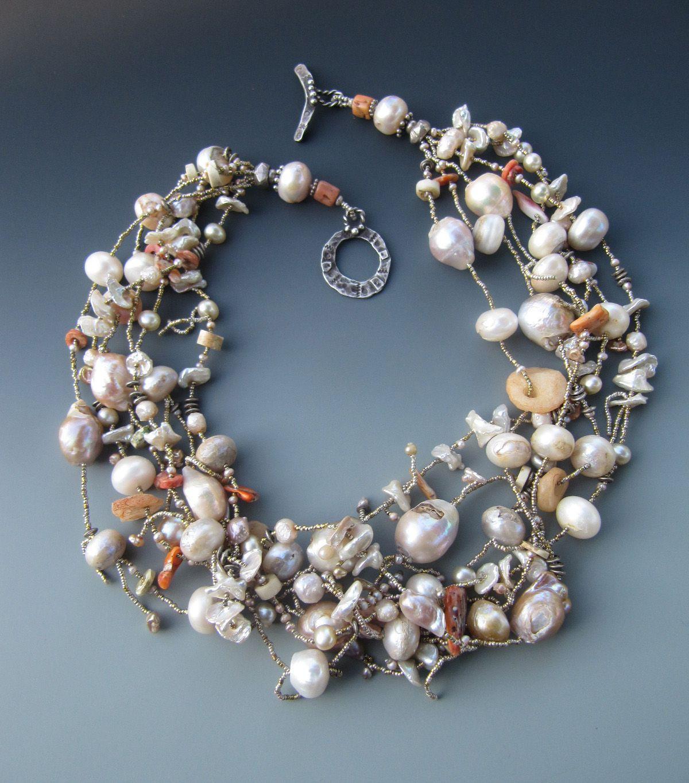 Pearls! Antique Mali agate! LuciaAntonelli.com