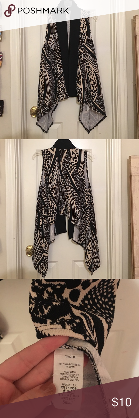 Sleeveless Black & Tan Cardigan Super cute patterned cardigan, worn once. Like new condition. See tag picture for material details. Tyche Sweaters Cardigans