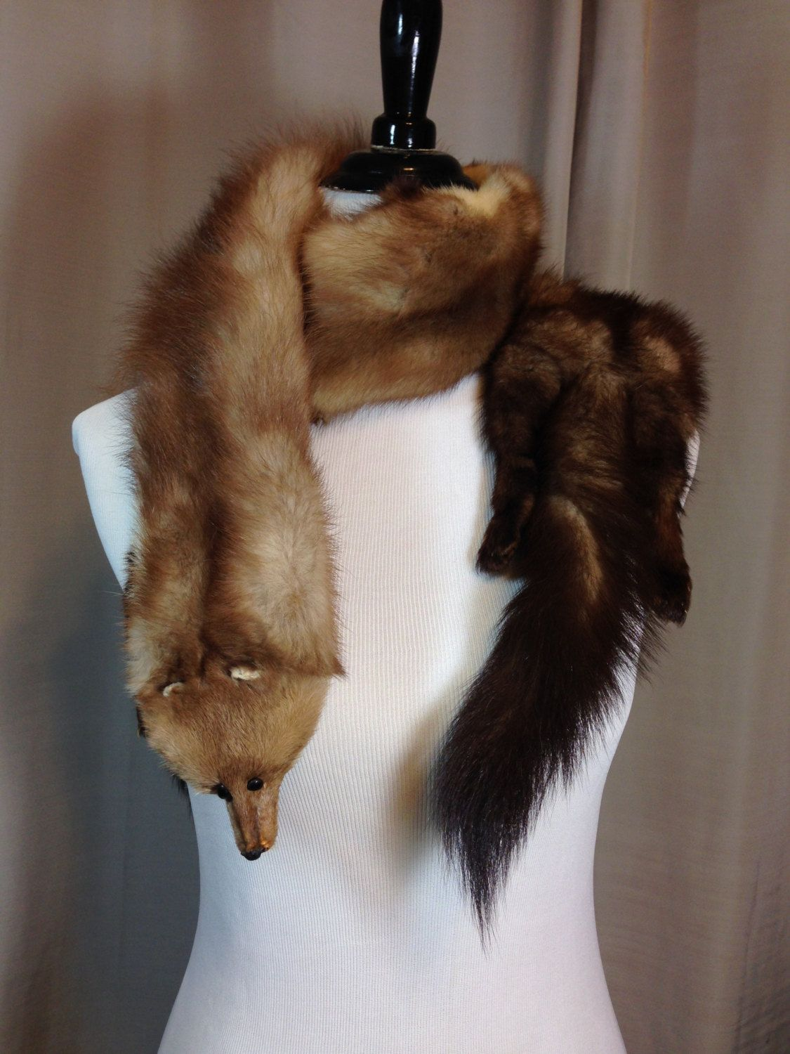 vintage mink stole or scarf with three full pelts including the