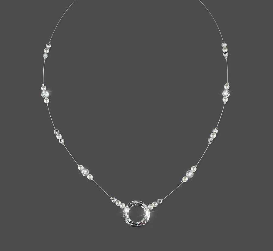 collier mariage love ring cristal swarovski perles With collier mariage swarovski