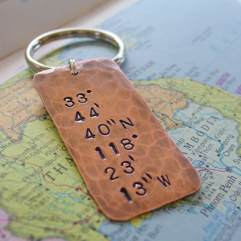 32 Wedding Anniversary Gifts: Latitude Longitude Keychain, Custom Hand Stamped Location
