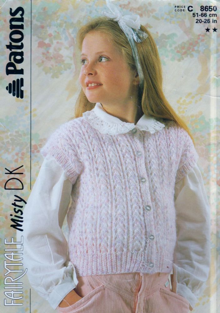 9d59be78724de6 Original Knitting Pattern Patons C 8650 Baby Toddler Girls Childs Cap  Sleeve Lacy Waistcoat Chest 22