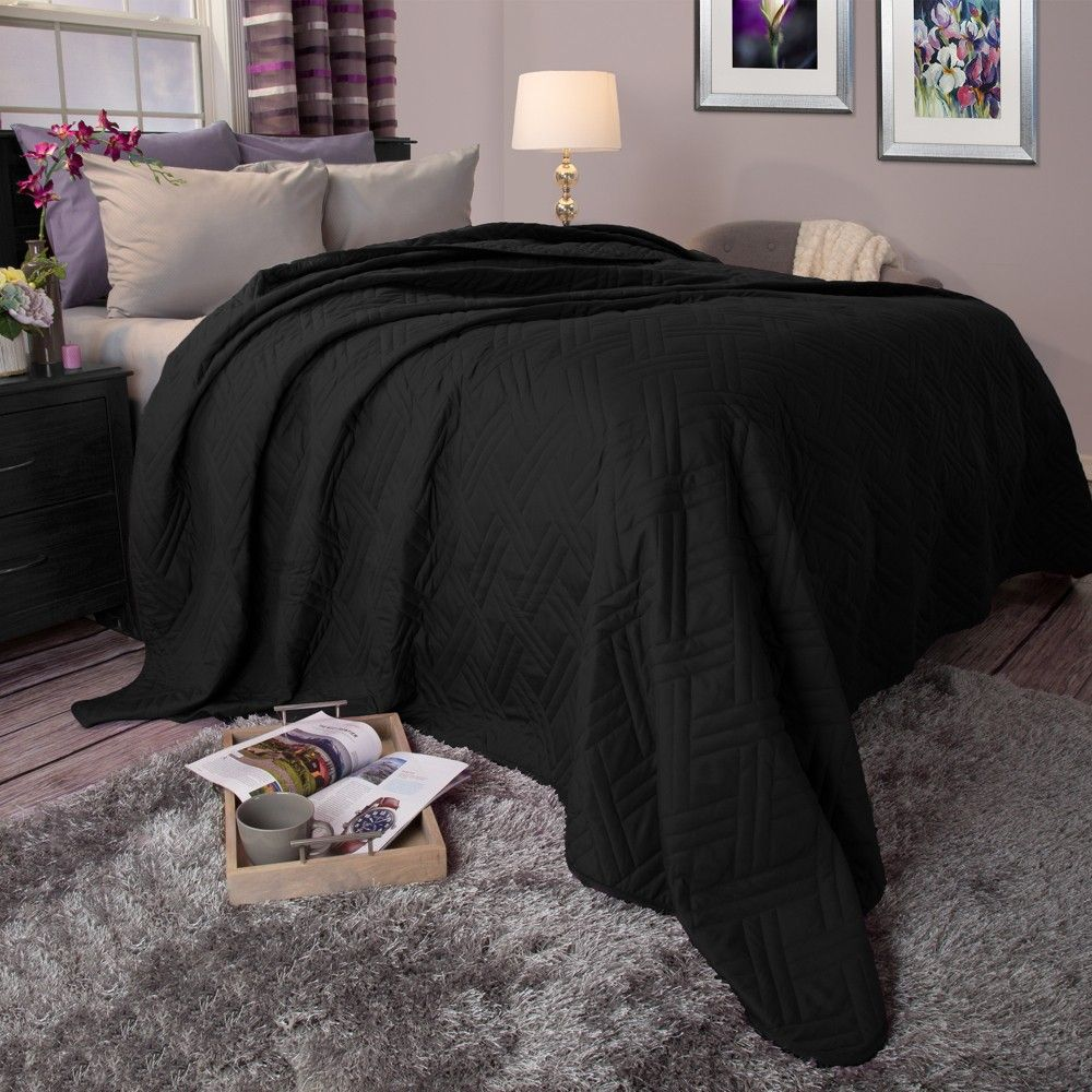 Black Solid Color Bed Quilt Twin Yorkshire Home Lavish Home