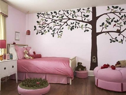 Impressive Flowers Tree Wall Stickers Decals For Teenage Girls Pink Bedroom  Wall Decorating Designs Ideas