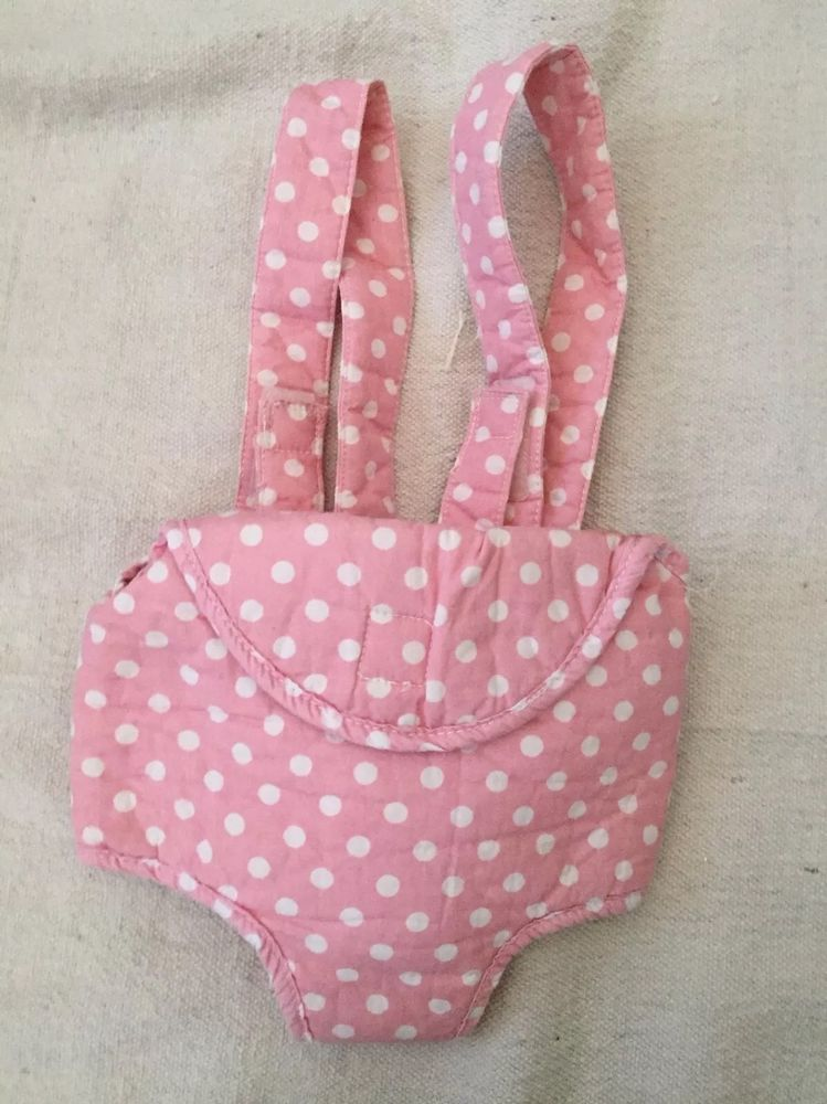 Pink And White Polka Dot Pottery Barn Kids Baby Doll Carrier Bitty