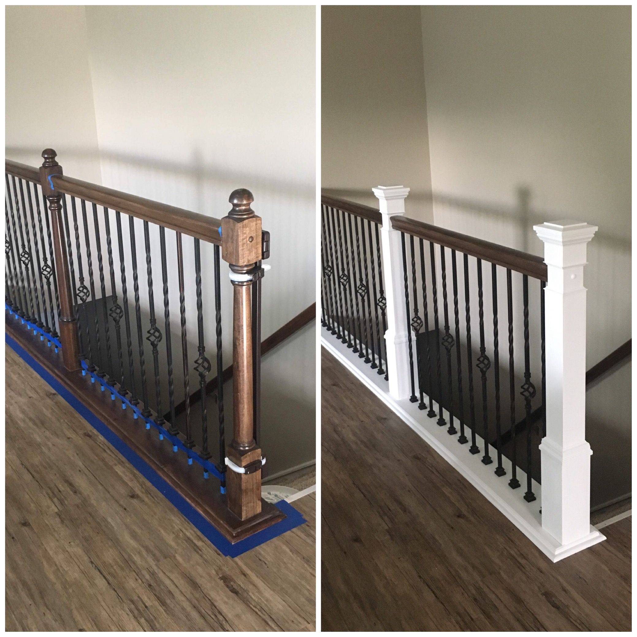 Diy boring builder banister painted base white and built