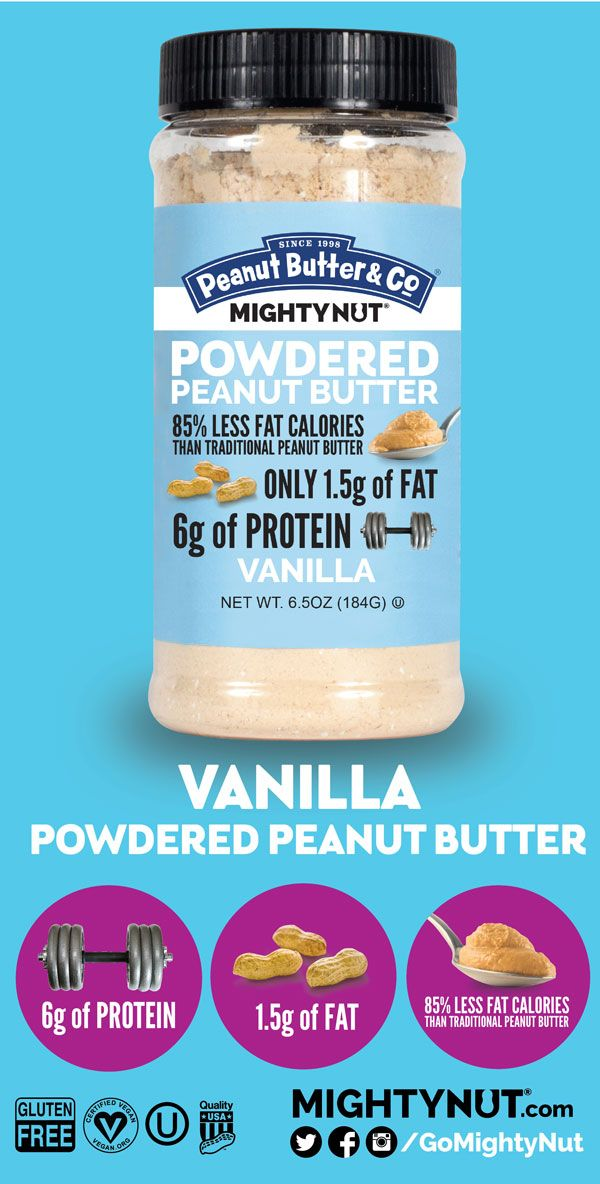VANILLA POWDERED PEANUT BUTTER - We've blended our powdered peanut butter with sweet vanilla to add lots of yummy flavor. (1.5g of FAT 6g of PROTEIN per serving)
