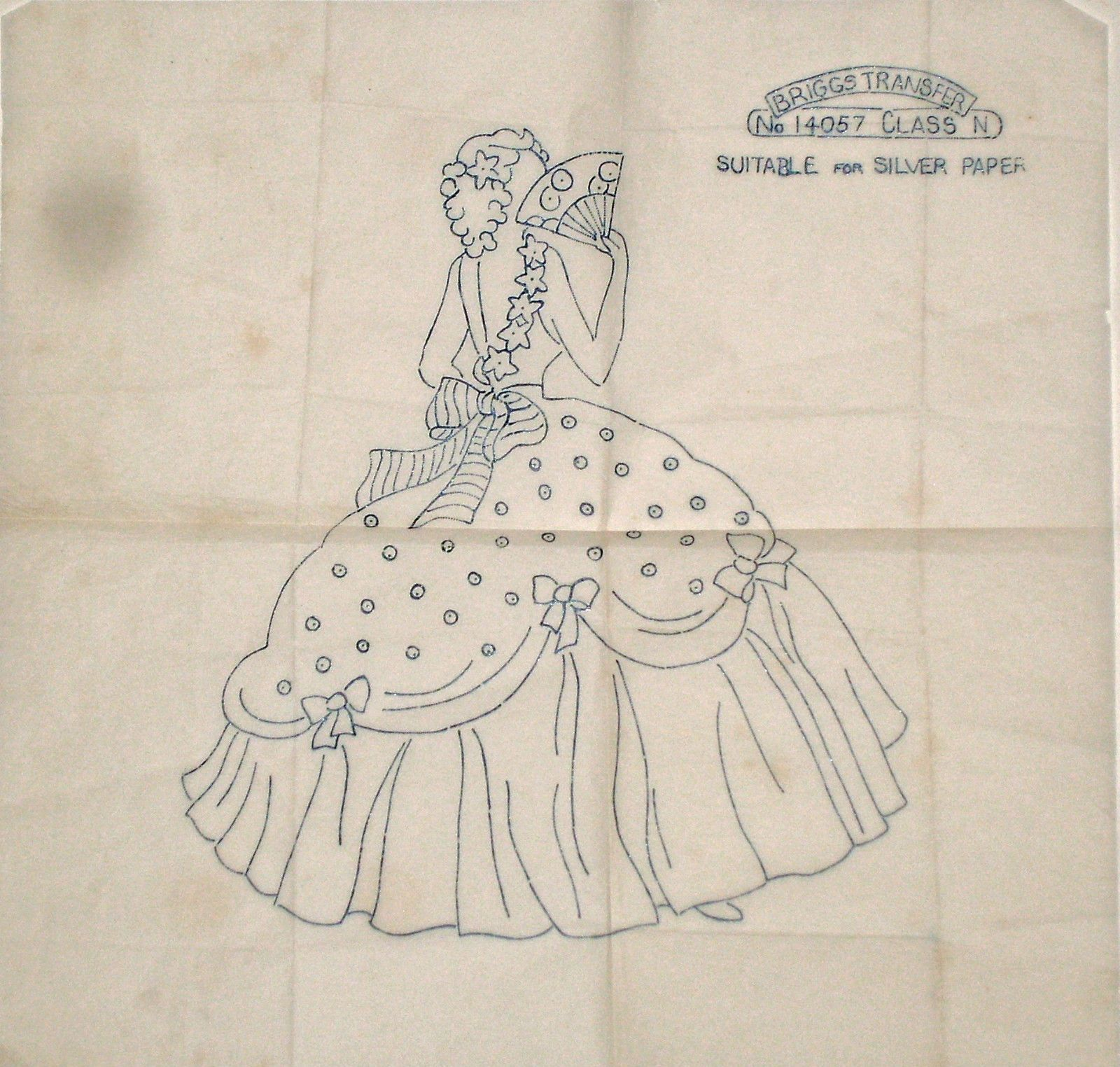 Vintage Briggs embroidery transfer - Belle - Crinoline Lady with fan ...