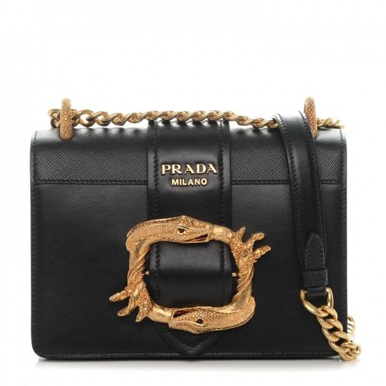 PRADA City Calf Saffiano Animalier Cahier Bag Nero Black 184643