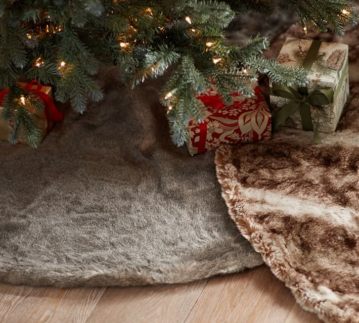 Faux Fur Tree Skirt, Brown Bear Fur Pottery Barn If this goes on - outside christmas decorations sale