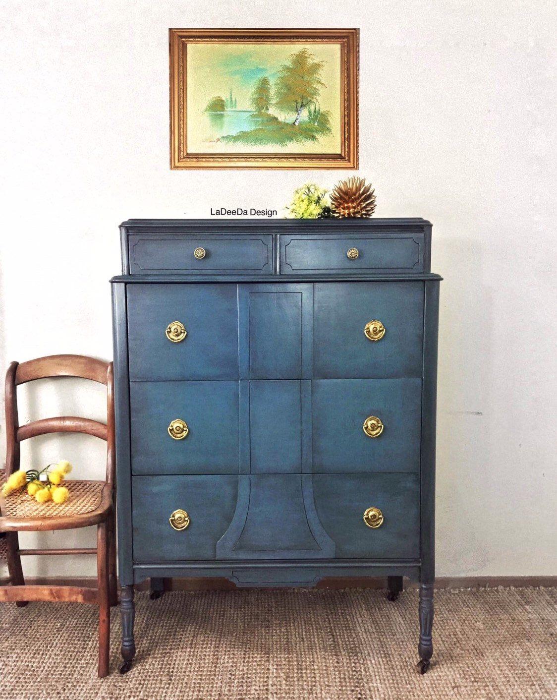 New To My My Etsy Shop Vintage Teal Blue Wood Dresser Antique Tall Boy Dresser 5 Drawer Painted Dresser Ches Painted Dresser Upcycle Dresser Wood Dresser [ 1412 x 1124 Pixel ]