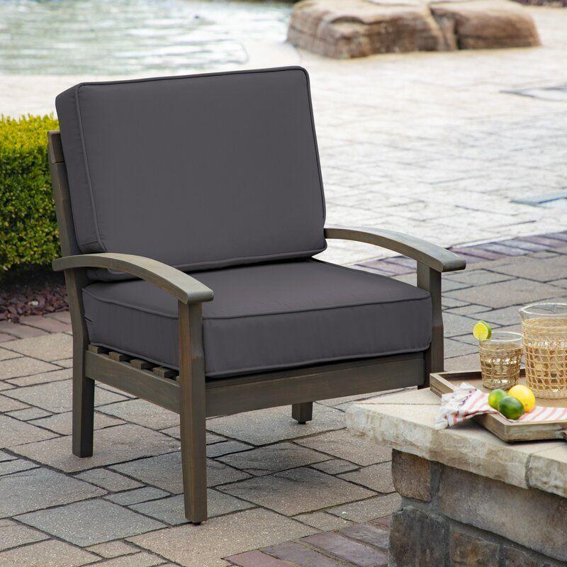 Grey 2 Piece Profoam Foam Deep Seat Outdoor Lounge Chair Cushion Set Deep Seating Outdoor Deep Seat Cushions Outdoor Lounge Chair Cushions