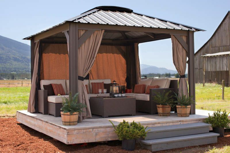 Wooden Gazebo One Side Open And One Side Curtained Shed Side