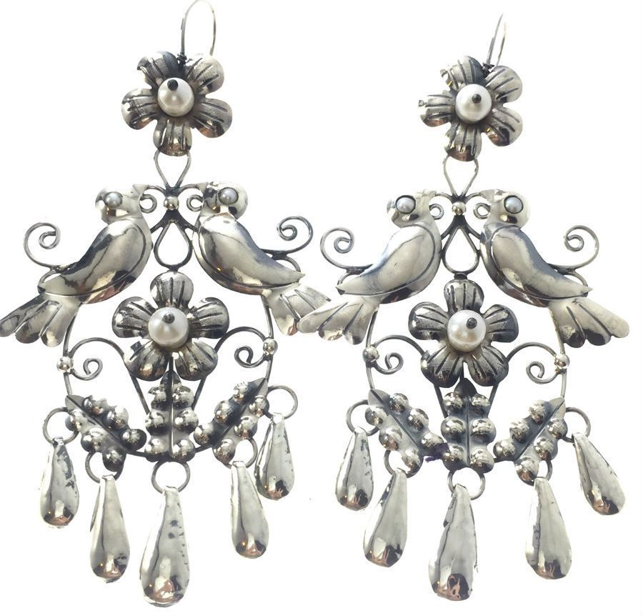 d32dc1ca14bc FRIDA KAHLO DESIGN TAXCO MEXICAN STERLING SILVER LOVEBIRD FLOWER EARRINGS  MEXICO