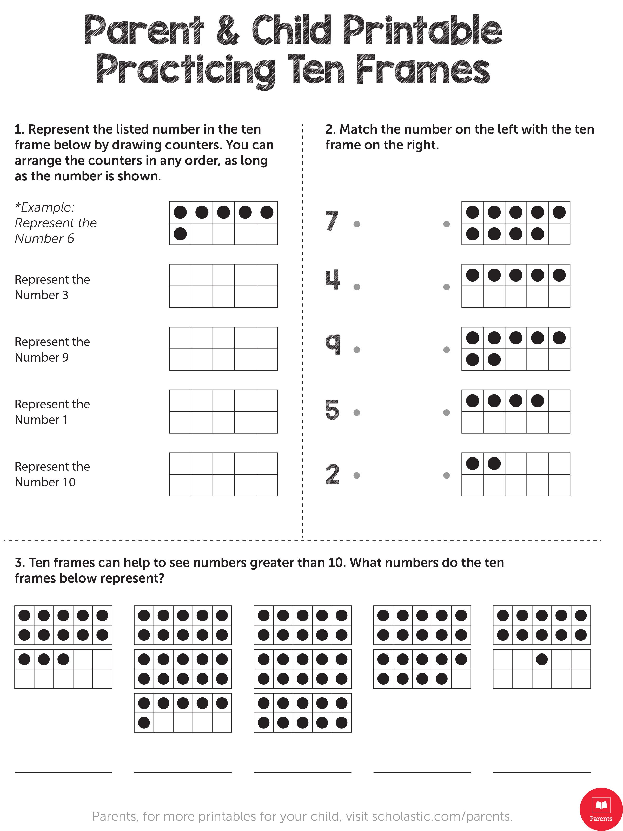 Use This Ten Frame Model Worksheet To Practice Math For Kindergarten And First Grade Ten Frame 1st Grade Math Worksheets Free Math Worksheets