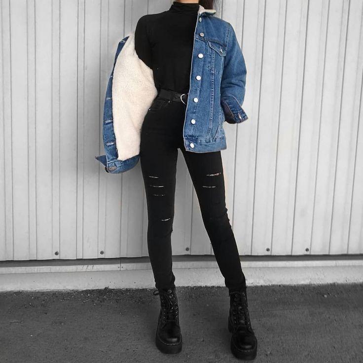 Instagram sur Instagram: «Quelle tenue aimez-vous avec cette veste en jean? вY: Fab … – automne / hiver … #jeanjacketoutfits