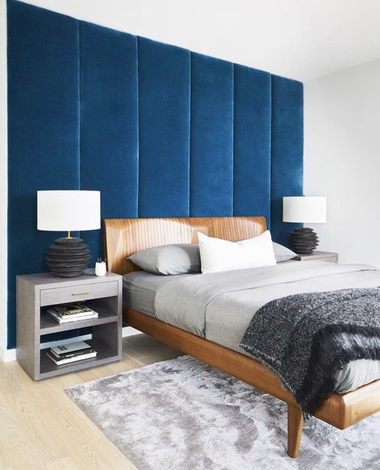 Modern Bedroom Upholstered Walls Wall Panel Headboard Teal