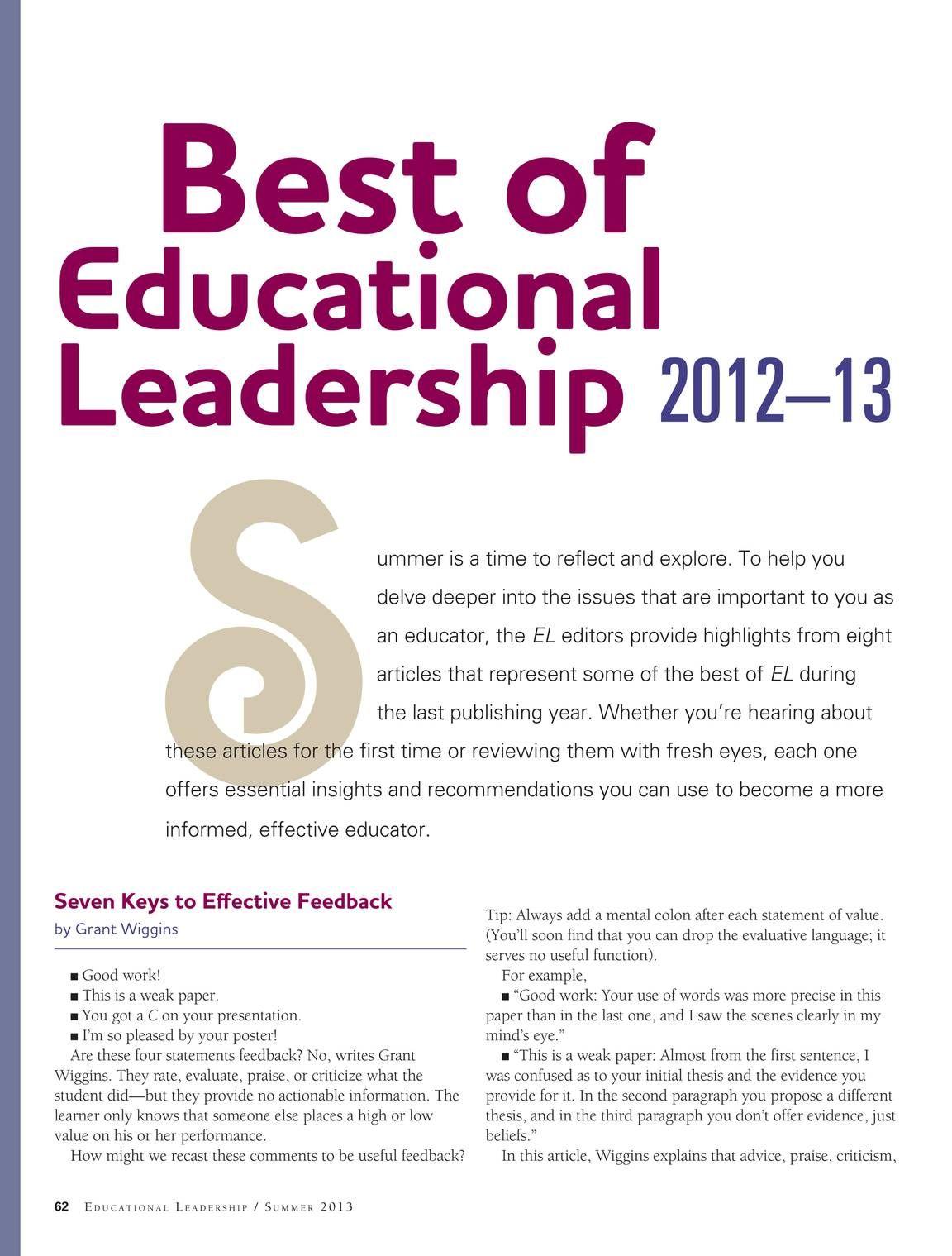 Educational Leadership Is A Magazine For Educators By Educators
