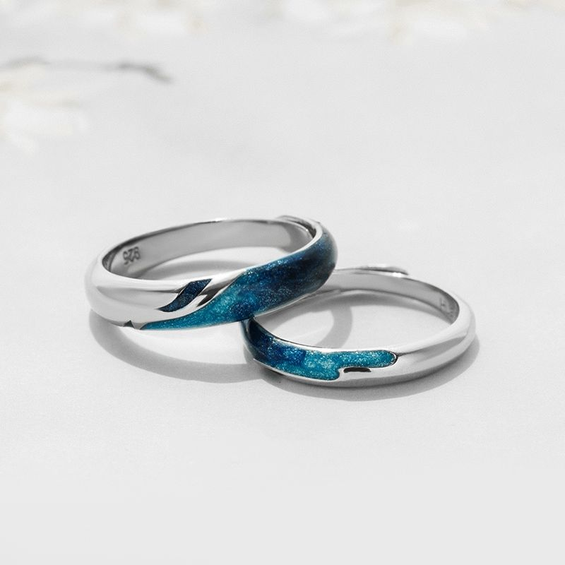 Engravable Galaxy Promise Ring For Couples In 925 Sterling Silver Couples Ring Set Matching Promise Rings Promise Rings For Couples