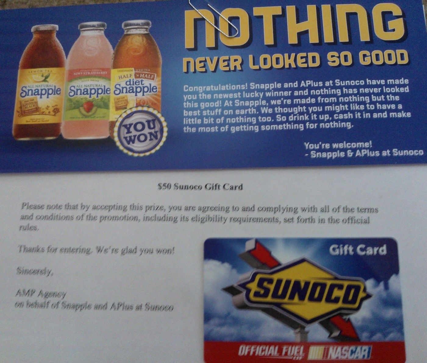 Win Nothing - $50 Gas Card from Sunoco