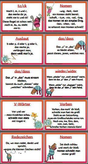 Mompitzige Merksatze Schule Rechtschreibregeln Deutsche Schule